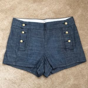 J.Crew Nautical Chambray Sailor shorts size 0